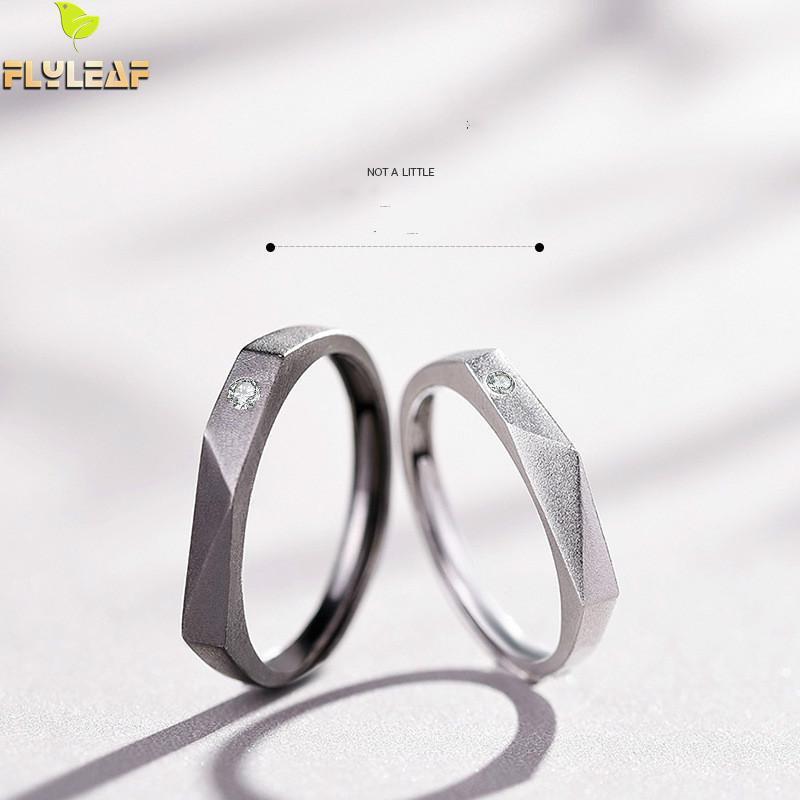 925 anillos de plata esterlina para mujer Circonia cúbica Castaño de agua pareja anillo abierto hombres mujer joyería fina regalo para estudiantes loves