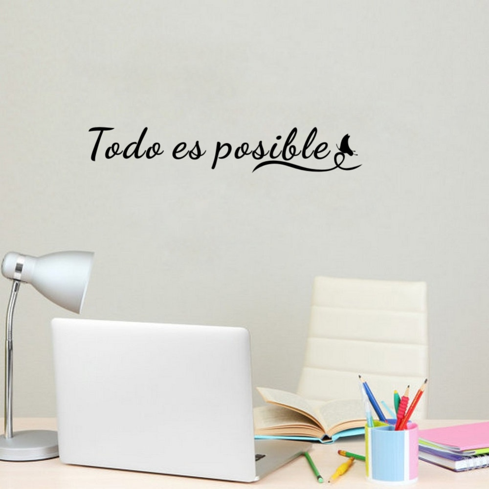 Vinilo extraíble cita motivacional español, pegatina de arte para pared, decoración de pared Oficina, todo es posible