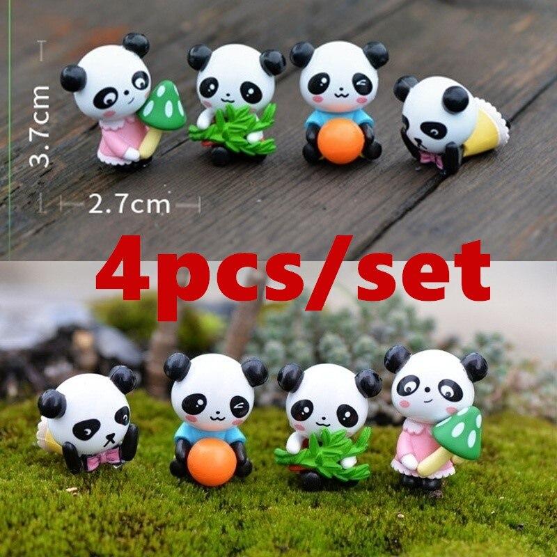 4 unids/lote Mini figuras de animales de Panda lindo casa de muñecas juguetes miniaturas/terrario Micro Jardín de hadas DIY accesorios adornos