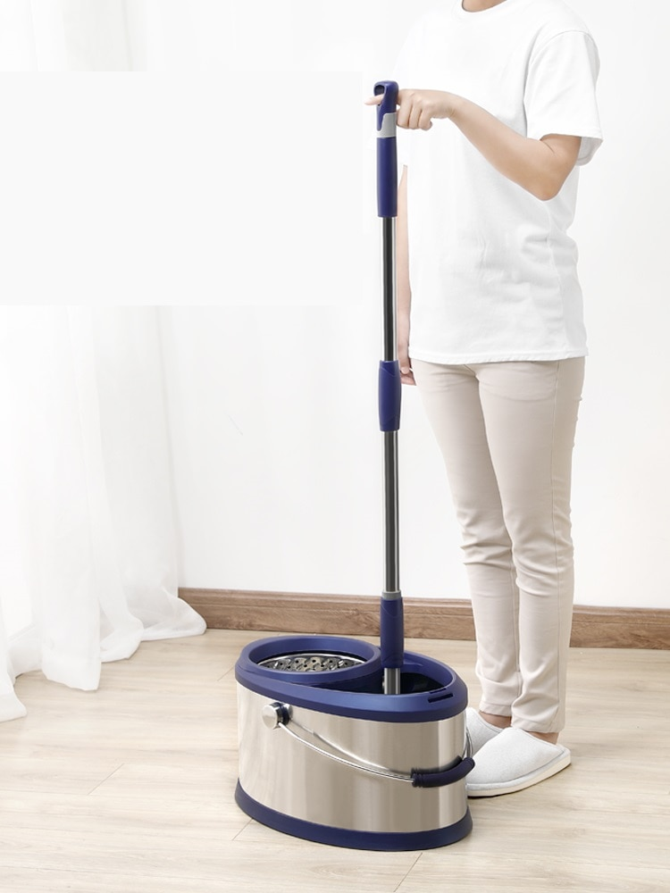 Hand-free mop double drive stainless steel rotating mop bucket home automatic mop bucket enlarge