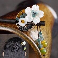 Ethnic Handmade Wooden Shell Flower Hair Sticks Chinese Resin Beads Ebony Headwear Bride Hair Accessories Women Jewelry Gift