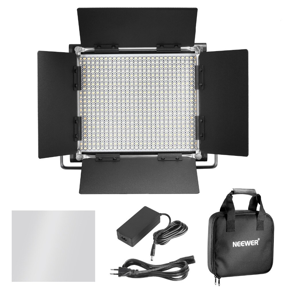 Neewer 3200-5600K UK/EU Plug Dimmable Bi-color 660 LED U Bracket Barndoor Video Light CRI 95for Studio/YouTube/Photography/Video