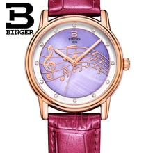 Happy Hour Music Note Women Crystals Watches Imported Japan Quartz Elegant Lady Real Leather Wrist w