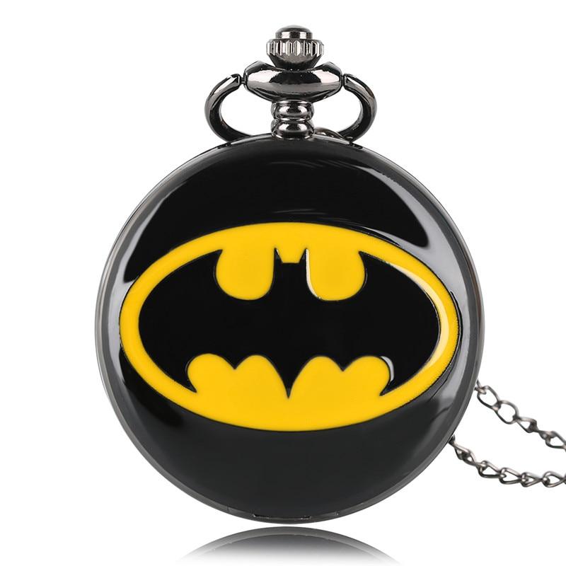 Модные черные часы с изображением Бэтмена, карманные часы с брелоком, кварцевое ожерелье, цепочка, Полный Охотник, стимпанк кулон, подарок для детей, мужчин, женщин, мальчиков и девочек