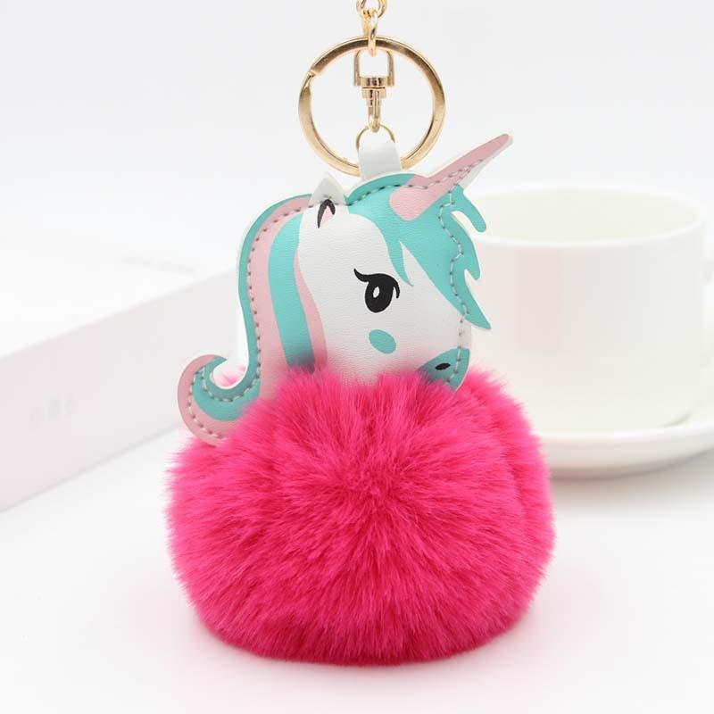 Nueva moda Anime juguete del caballo de cuero lindo llavero con unicornio de peluche de juguete colgante de las mujeres de piel Pom llavero colgante bolsa de peluche de juguete