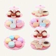 Nouveau prétendant jouer 17 pièces fille rose gâteau tour Mini Cookie nourriture ensemble en plastique cuisine jouets enfants semblant jouer anniversaire cadeau jouet D1