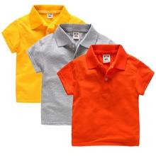 새로운 유니섹스 소년 소녀 폴로 셔츠 어린이를위한 여름 유아 탑스 소녀 폴로 셔츠 코튼 블루 셔츠 코튼 의류 반팔
