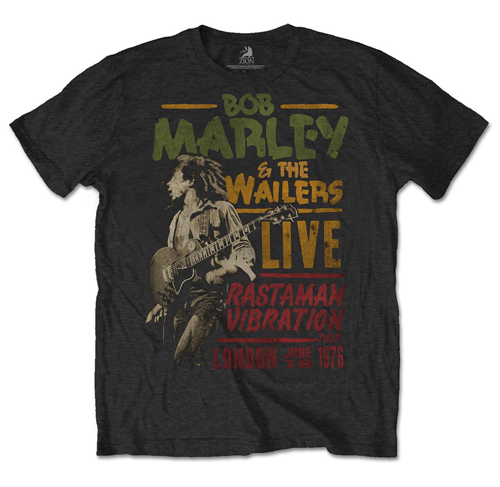 Bob Marley Camiseta Hombre Rasta vibración Tour 1976 Unisex de la música Reggae Merch nuevo Metal Casual de manga corta T-Shirt