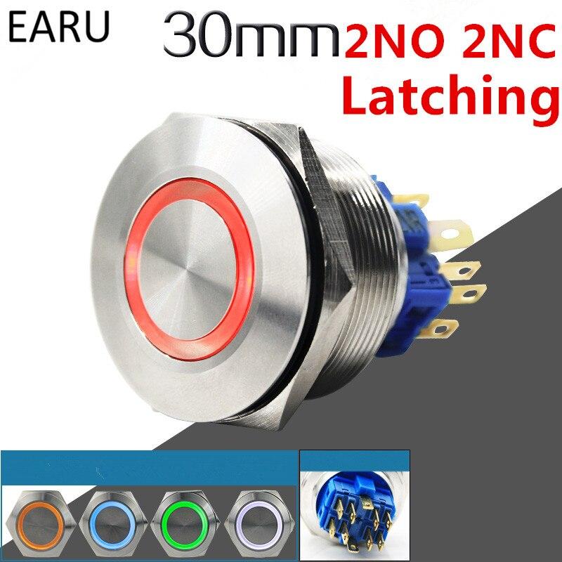 30 мм 2NO 2NC металлическая нержавеющая сталь Водонепроницаемая фиксация Doorebll колокольчик светодиодный кнопочный переключатель Автомобильны...