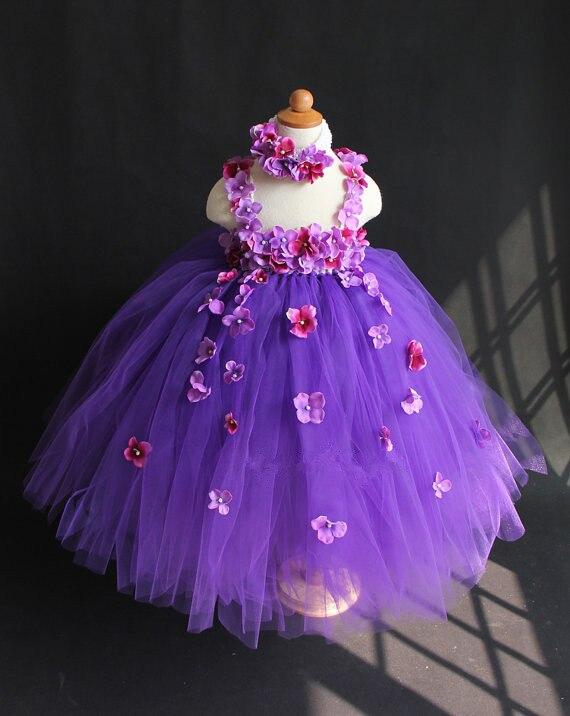 Vestido tutú con pétalos de flores purpurina para niñas, vestido de tul esponjoso para fiesta de boda con diadema, tutús largos de ganchillo para niños
