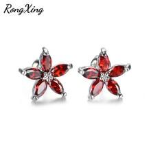RongXing Simple mode rouge CZ cinq étoiles boucles doreilles pour les femmes couleur argent bijoux pierre de naissance boucles doreilles Ear0057