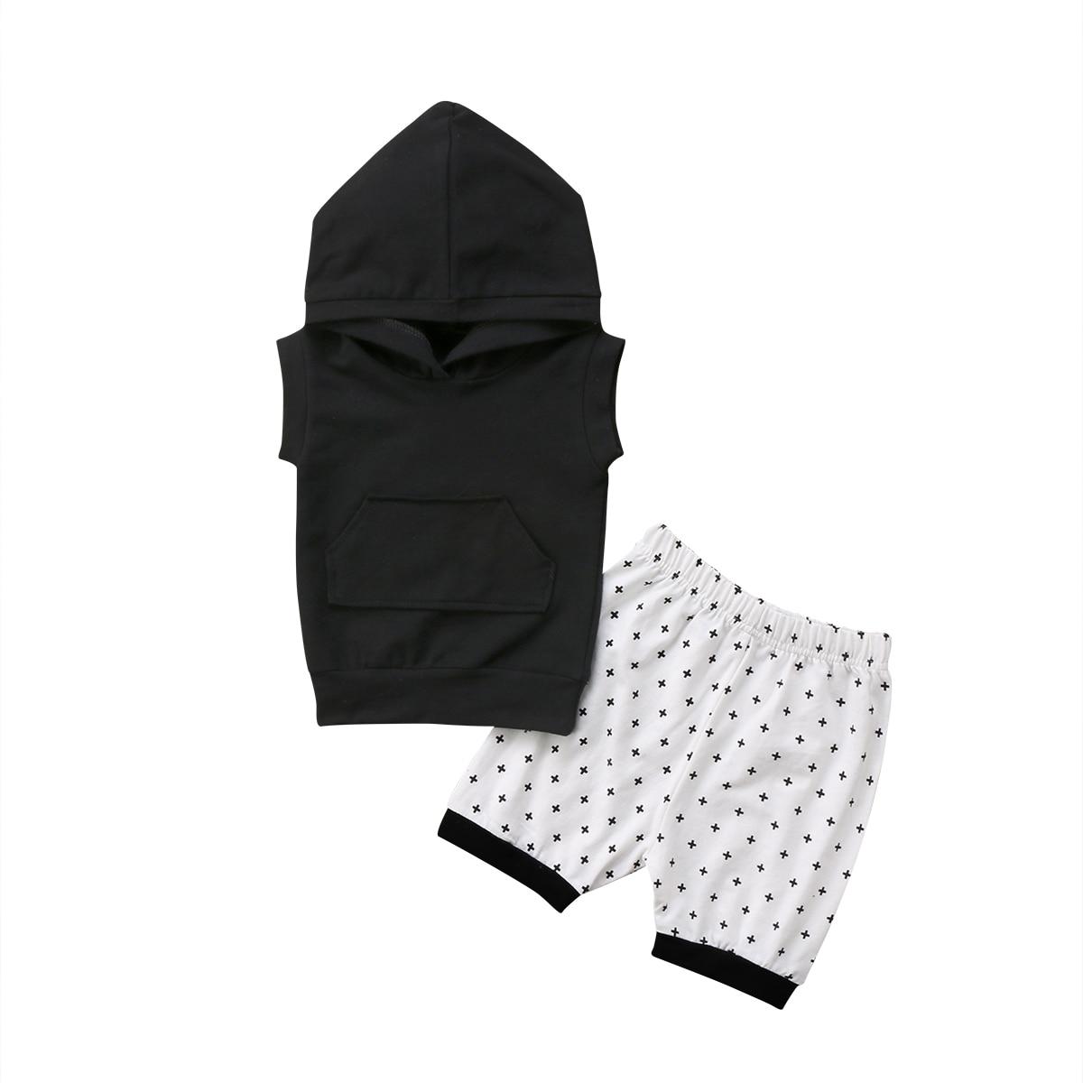 2018 Sport Toddler Kids Boy Outfits Hooded Tanks kangaroo pocket +Geo Cross Shorts Summer Boys Clothes Set