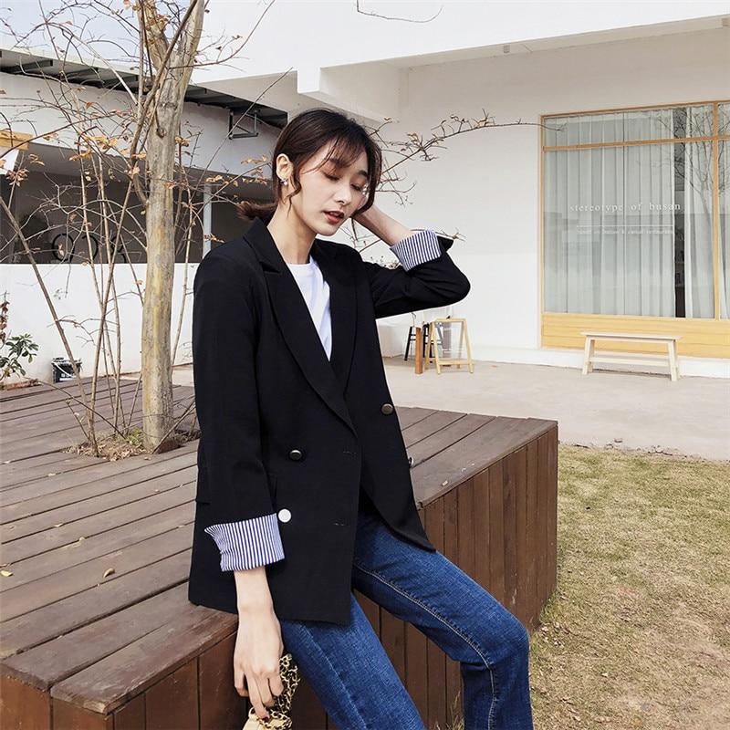 CBAFU primavera otoño negro doble breasted blazer mujeres de manga larga formal casual chaqueta outwear traje abrigo moda vintage P236