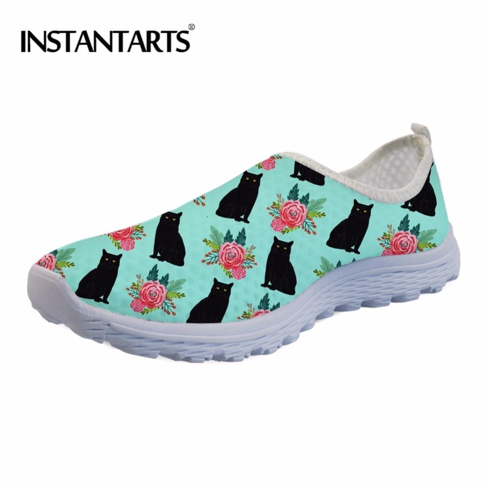 INSTANTARTS Women Casual Non-slip Flats Shoes 3D Cute Animal Black Cat Print Woman's Air Mesh Summer Sneakers Tenis Female 2020