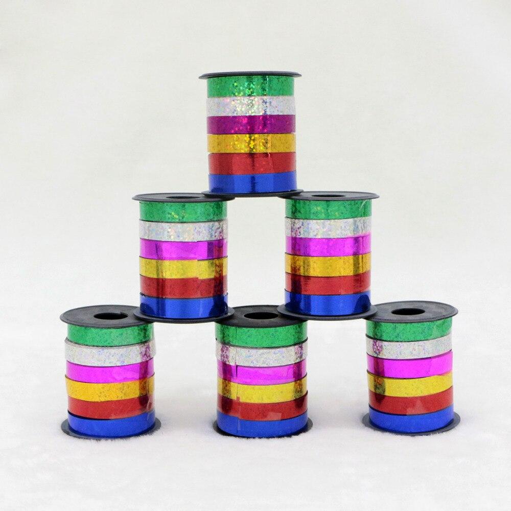 6 pièces/lot 5mm * 10 mètres ballons ruban multicolore laser ruban à friser bandes pour fête danniversaire mariage décoration fête fournitures
