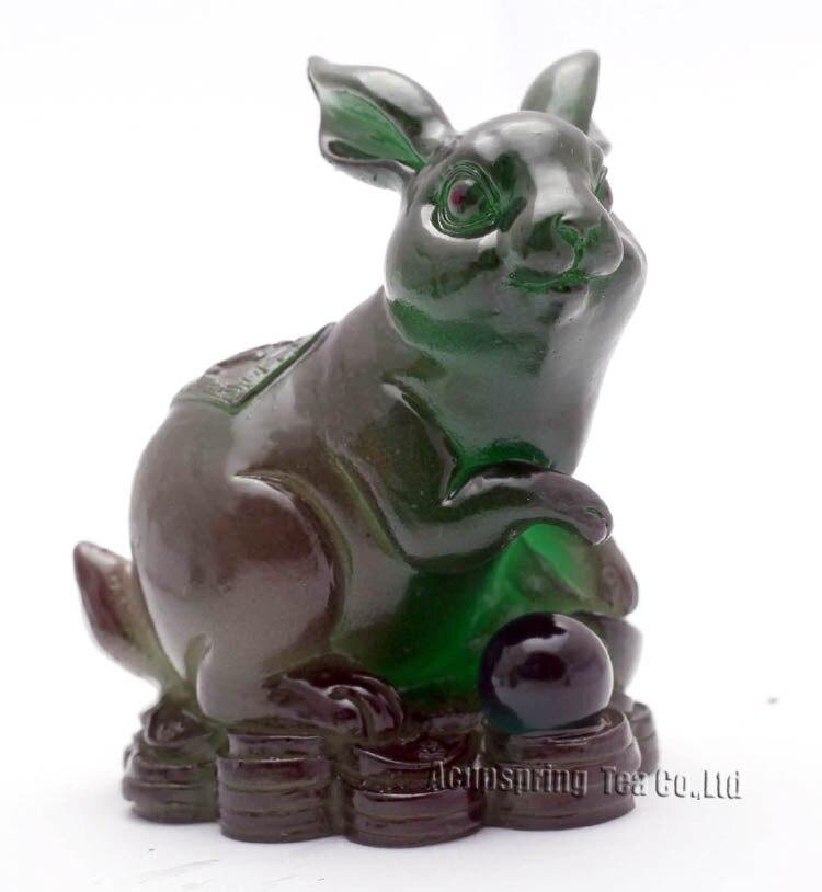 Conejo verde, amuletos de la suerte, zodiaco chino, Shenxiao, mascota Allochroic, adorno fengshui, regalos novedosos, el mejor regalo, Té mascota, S1015At