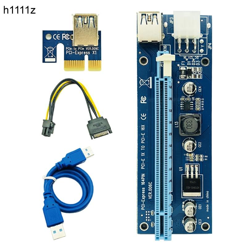 10 stücke VER006C Molex 6Pin PCIE PCI-E PCI Express Riser Karte 1X zu 16X Extender Adapter USB 3.0 Kabel Für BTC bergbau Bitcoin Miner
