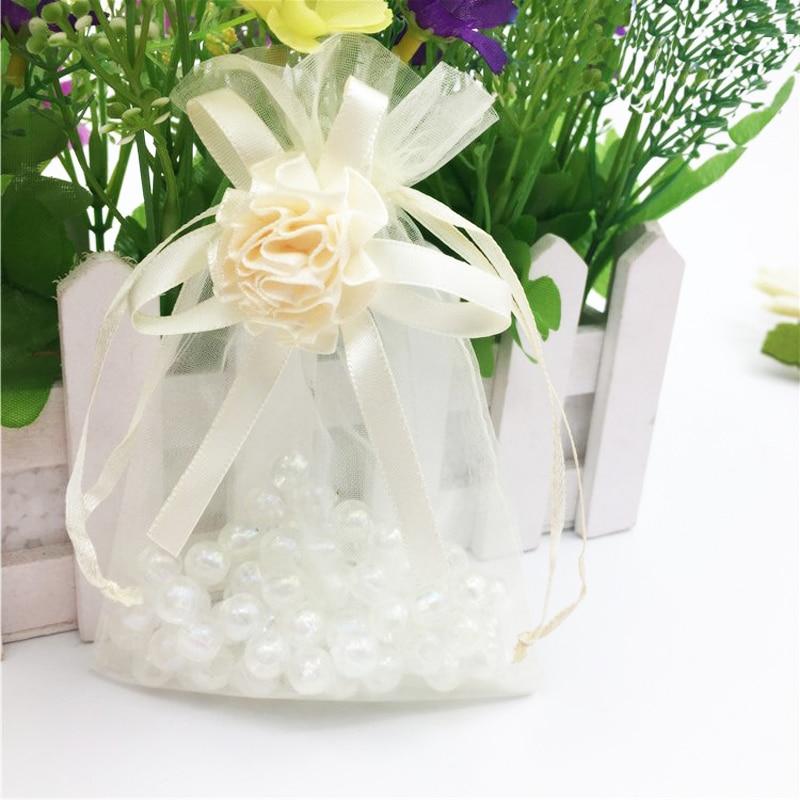 9x12cm 100 Uds. Flores dibujables marfil pequeñas bolsas de Organza Favor bolsas de embalaje de regalo de boda, bolsas de embalaje de joyería H2100