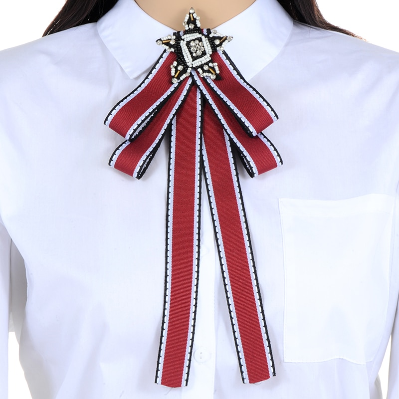 ZHINI diseño de moda mujeres cinta de satén roja pajarita vestido joyas de cuello accesorios corbata Pin camisa con lazo broches de corbata Pins