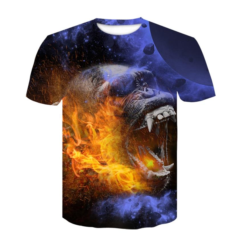 2019 new Big yards orangutan  Fashion Brand T-shirt Men Summer 3d Tshirt Print wolf T shirt Male Tops Tee M-4XL oversized