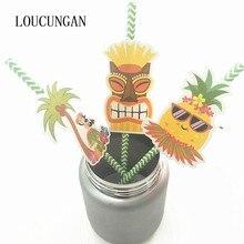 12 pièces/lot Hawaii fête décoration ananas papier pailles à boire Jungle tropicale fête danniversaire décorations enfants adulte fournitures