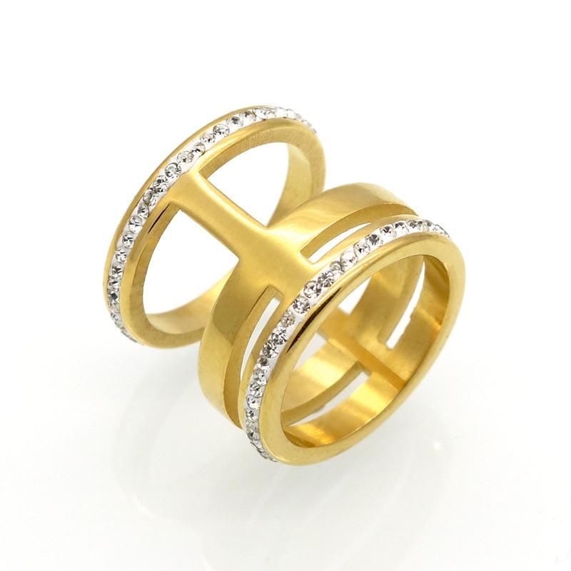 Anillos de cristal de lujo de acero inoxidable de 18mm de ancho anillo de colores de plata y oro zirconio blanco Nueva joyería de moda anillos de boda para hombres y mujeres