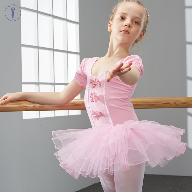 Algodón y Spandex vestido de Ballet Tutu para niñas niños de manga corta de tul baile gimnasia leotardo trajes de ballet