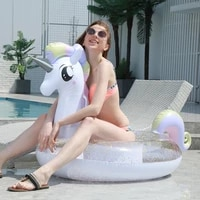 200cm sparkly pegasus pool float ins hot glitter unicorn ride on swimming ring adult children pool party inflatable toys boia