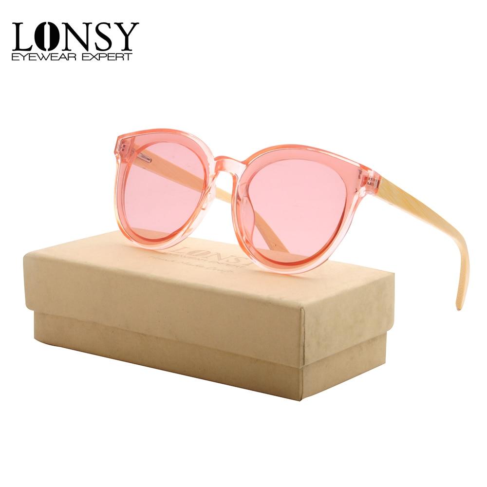 LONSY, diseño de marca de madera de bambú, gafas de sol redondas rosadas, gafas de sol de moda para hombres y mujeres, lentes de protección UV400, Envío Gratis LS5033