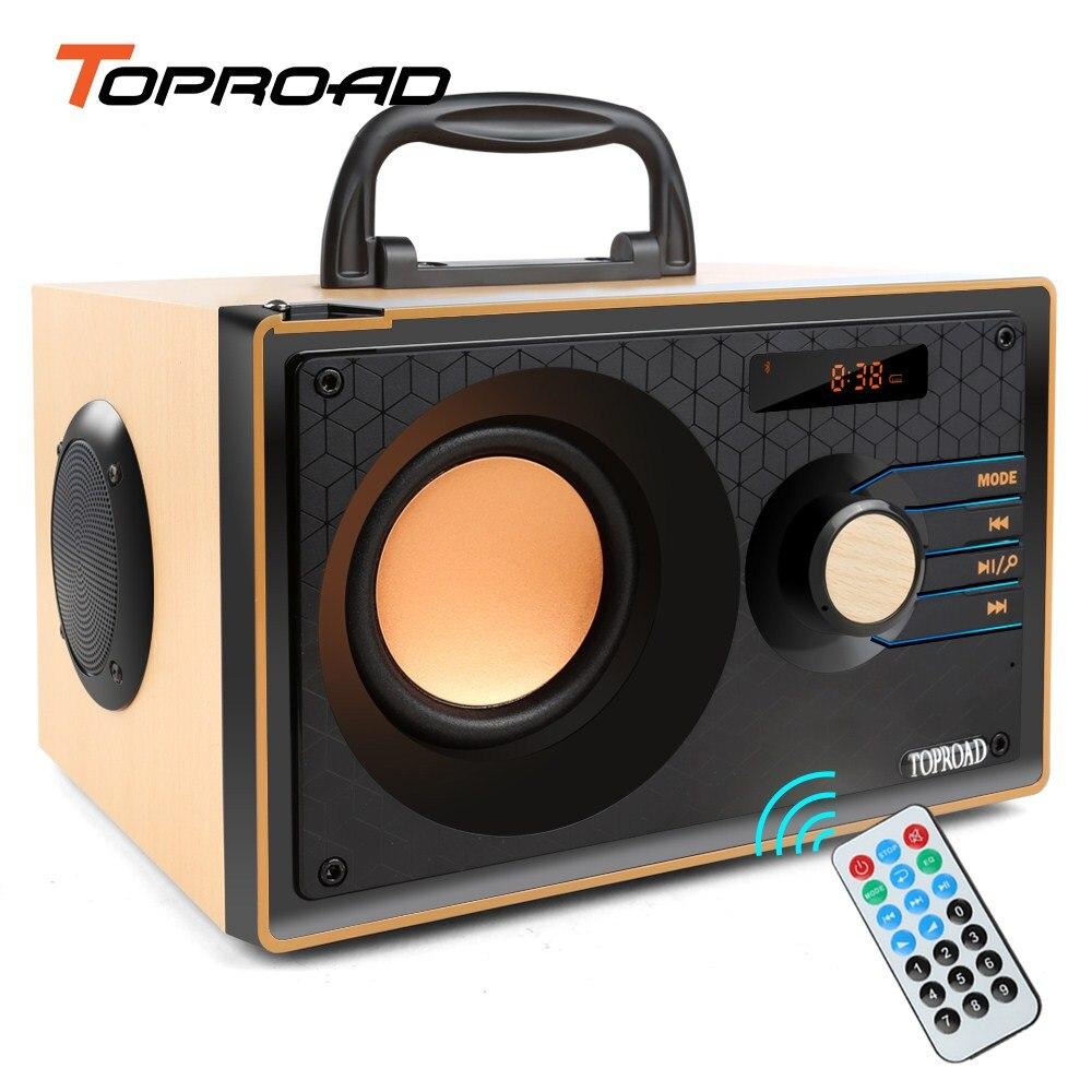 TOPROAD altavoz de madera Bluetooth inalámbrico estéreo Subwoofer altavoces portátiles reproductor de música compatible con radio FM Control remoto TFcard