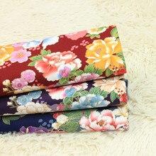 Tissu en coton épais demi-cour, doux à la brise, imprimés à grandes fleurs, sac de vêtement 100% coton T482, fait à la main