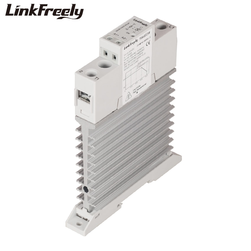 TRA48D25M 25A disipador de calor de CA CC relé de estado sólido carril Din SSR 5V 12V 24V 32VDC entrada 42-480VAC salida inteligente LED relé de señal unidad