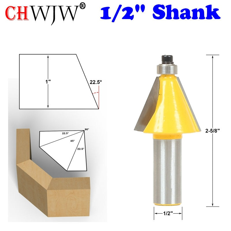 "1 pc 22.5 Graus Chanfro & Bisel Afiação Router Bit-1/2 ""Shank-Chwjw 13904 cortador carpintaria carpintaria bits"