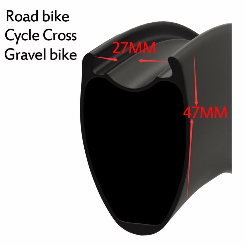 2017 New Mould Wider design carbon road rim 47*27mm more aero tubular/Tubeless V-brake or disc brake for road bike or cyclecross
