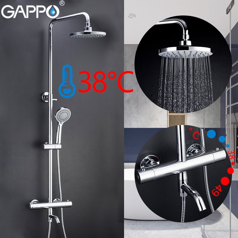 GAPPO Shower Faucets bathroom thermostatic shower faucet bath shower mixer set waterfall rain shower head set bathtub faucet tap black shower set luxurious bath system large rain waterfall concealed led shower head 600x800mm with thermostatic shower faucets