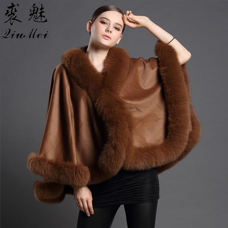 Femmes mode laine Poncho manteaux nouveau automne hiver décontracté réel renard fourrure châle élégant Cardigan femme laine cachemire fourrure manteaux