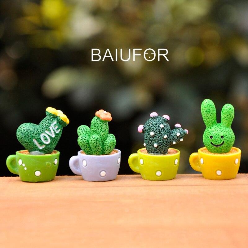 4 pçs baiufor miniatura mini pote de copo bonito, desenhos animados cactus suculentas, boneca casa/loli/diy decoração do jardim de fadas estatuetas terrário