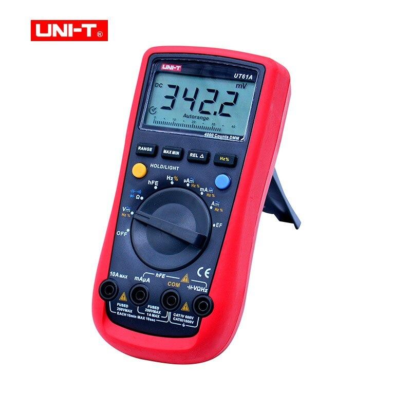 UNI-T UT61A DMM Multímetros Digitais Transistor NCN Tester Handheld Medidor Volt Ohm Frq CD Backlight Data Hold Amperímetro Tester