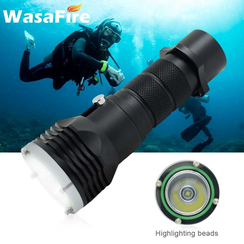 Xm-l l2 led lanterna de mergulho super brilhante mergulho tocha perfessional underwater 100m lanterna à prova dpowerful água poderosa 26650 lâmpada