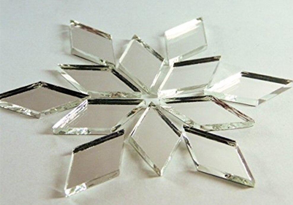 1x2 inch יהלומי צורת אריחי פסיפס זכוכית מראה קישוט הבית, 100 יחחבילה