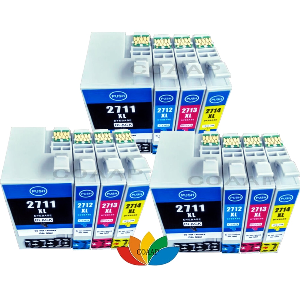 12 متوافق الحبر خرطوشة T2711 - T2714 XL لإبسون القوى العاملة WF7110 WF7610 WF7620 WF3620 WF3640