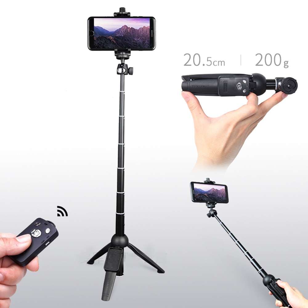 YUNTENG inalámbrico Bluetooth remoto palo de selfie extensible Monopod trípode teléfono soporte montaje para iPhone Sumsang Android
