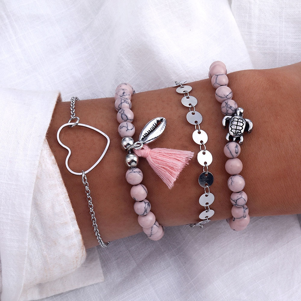 Retro coração forma boêmio pulseira conjunto feminino menina boêmio tartaruga borla pulseira charme grânulo pulseira feminina tendência de jóias