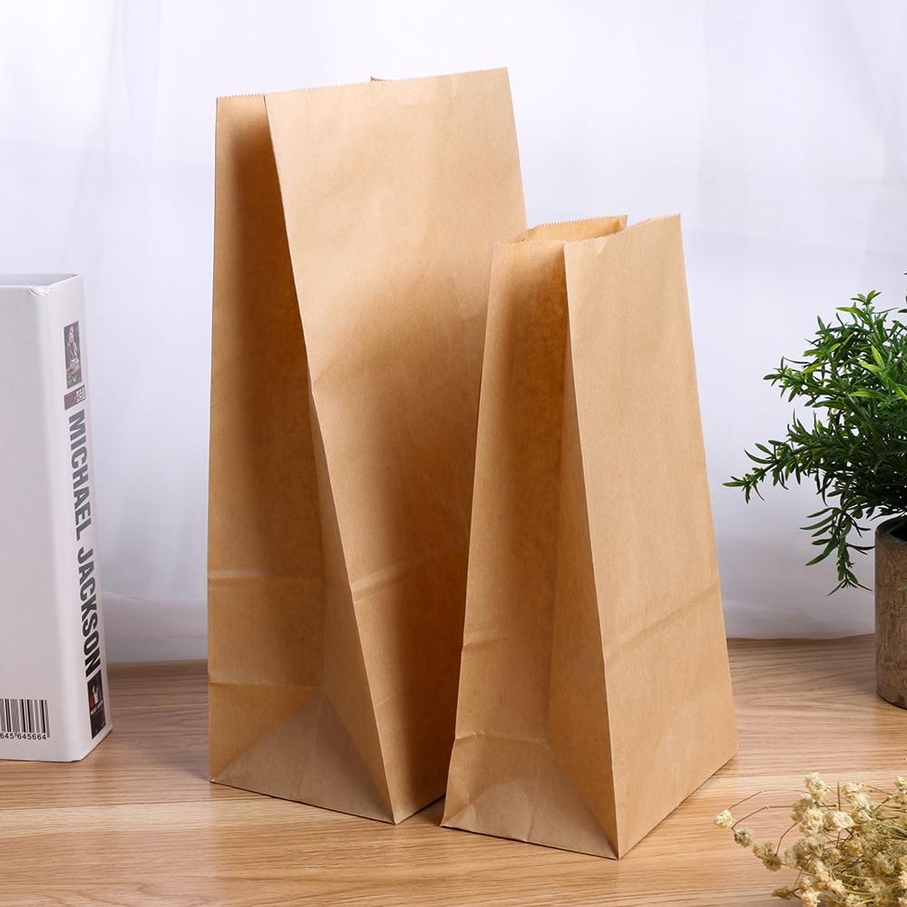 5/10 Uds. Bolsas reciclables de papel Kraft marrón caramelo para compras bolsas de comida fiesta de cumpleaños de boda suministros Navidad