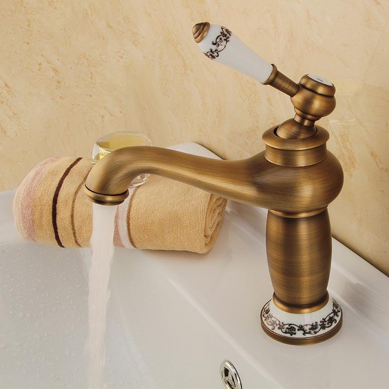 Robinet de lavabo de salle de bains   Robinets de lavabo en cuivre Antique, diamètre du siège 65mm à une poignée robinet de lavabo assis 60116-AF