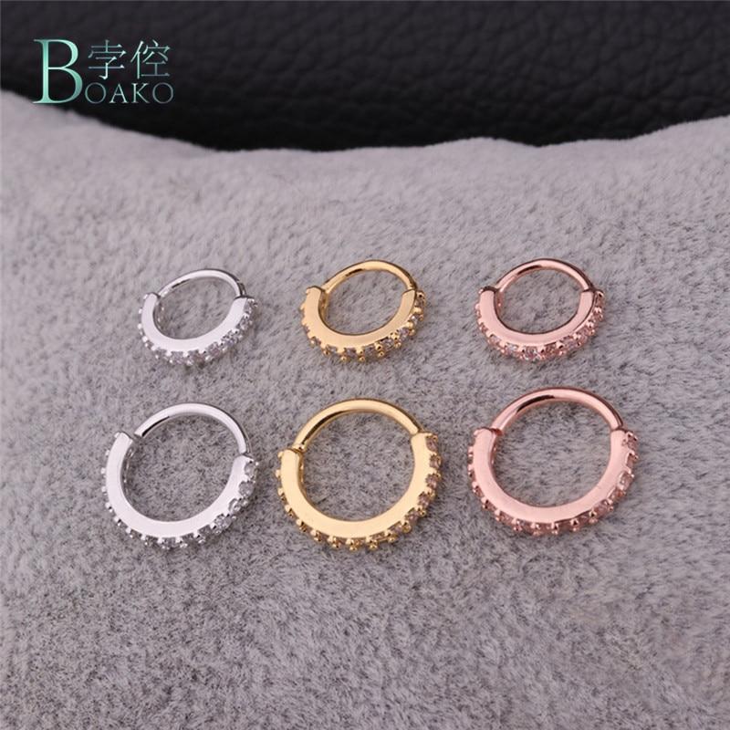 BOAKO 1PC 6mm 8mm CZ Hoop Nose Ring Hoop Earring Snug piercing Tragus Helix Cartilage Earring X7-M2