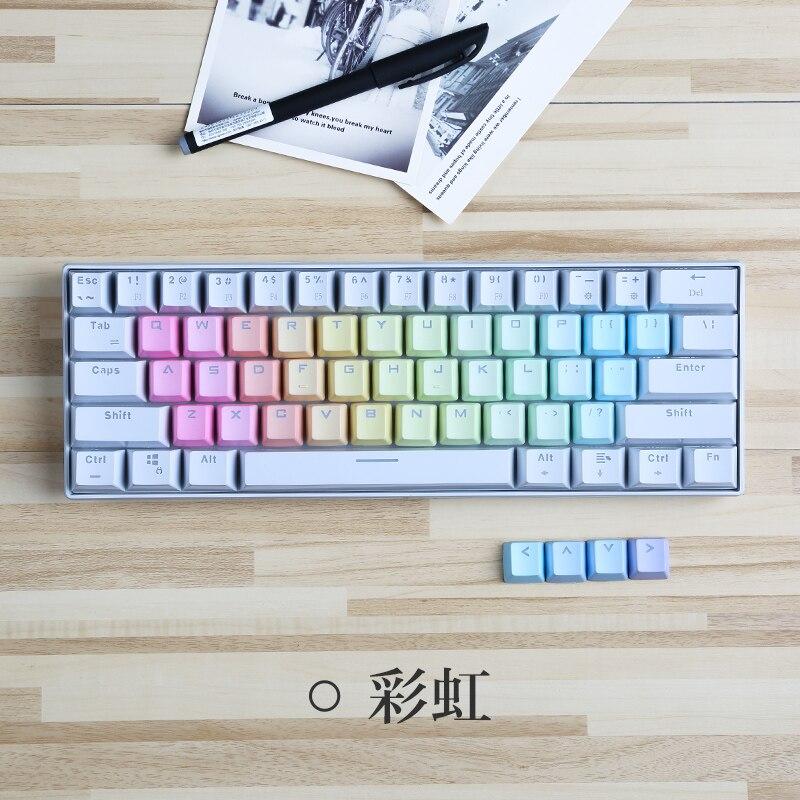 37 unids/set PBT transparente Arco Iris keycaps 37 teclas letras área Teclado mecánico keycaps personalidad