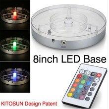 (100 pièces/lot) 20 CM pièce maîtresse lumière rechargeable batterie multicolore RGBW 4in1 LED sous Vase Shisha narguilé base à LED W/Remote