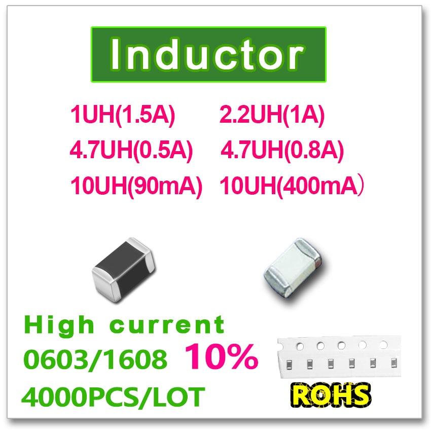 JASNPROSMA 0603 de 1608 a 4000 piezas SMD de alta corriente inductancia 10% 1UH (1.5A) 2.2UH (1A) 4.7UH (0.5A) 4.7UH (0.8A) 10UH (0.09A) 10UH (0.4A)