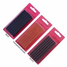 12 pçs/lote 0.7*10 cm cola de queratina varas, cola de fusão, marrom, loira, preto e transparente loira, 3 cores em estoque opcional